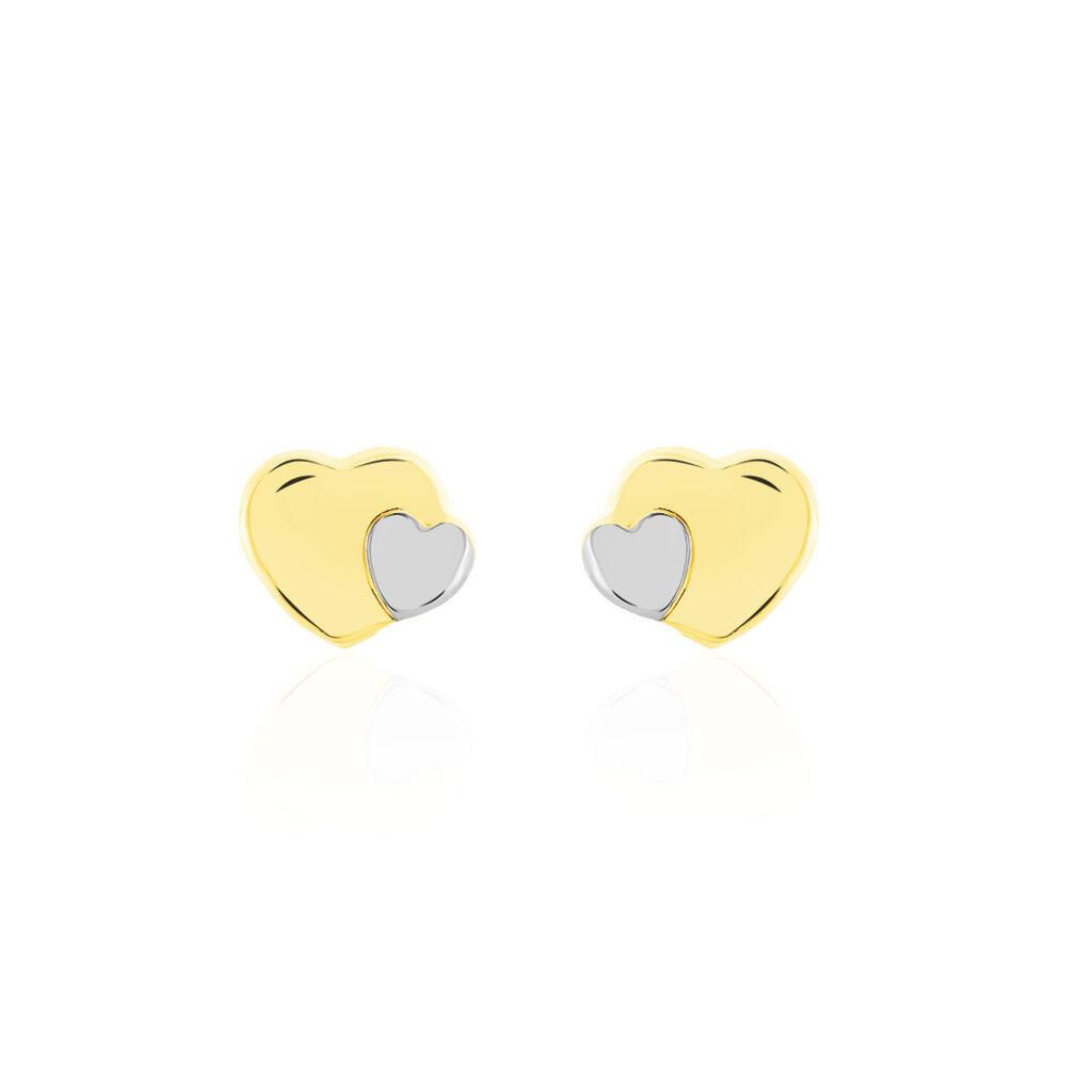 Boucles D'oreilles Puces Anne-maudae Double Coeurs Or Bicolore - Boucles d'Oreilles Coeur Femme   Histoire d'Or