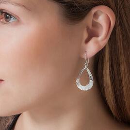 Boucles D'oreilles Pendantes Anasthasie Argent Blanc - Boucles d'oreilles fantaisie Femme   Histoire d'Or