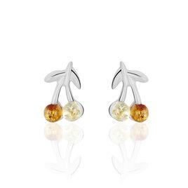 Boucles D'oreilles Argent Rhodie Cerises - Boucles d'oreilles fantaisie Femme | Histoire d'Or
