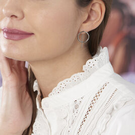 Boucles D'oreilles Pendantes Timie Acier Blanc - Boucles d'oreilles fantaisie Femme | Histoire d'Or