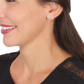 Boucles D'oreilles Pendantes Gladysse Or Rose Oxyde De Zirconium - Boucles d'Oreilles Trèfle Femme   Histoire d'Or