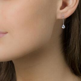 Boucles D'oreilles Pendantes Goutte Or Blanc Oxyde De Zirconium - Boucles d'oreilles pendantes Femme   Histoire d'Or