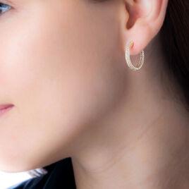 Créoles Rosianne Plaque Or Jaune Oxyde De Zirconium - Boucles d'oreilles créoles Femme   Histoire d'Or
