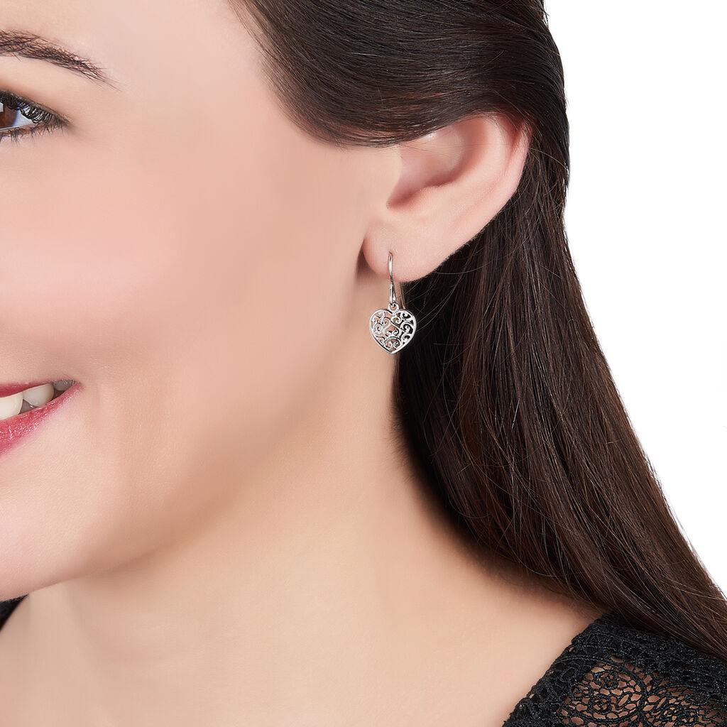 Boucles D'oreilles Pendantes Aelaig Argent Blanc - Boucles d'Oreilles Coeur Femme   Histoire d'Or
