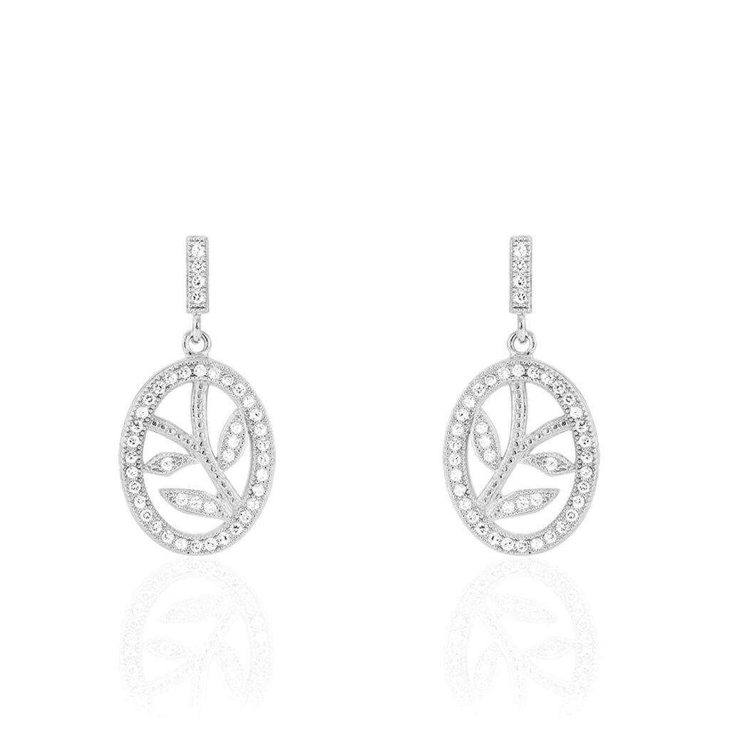 Boucles D'oreilles Pendantes Cesarita Argent Blanc Oxyde De Zirconium - Boucles d'Oreilles Plume Femme | Histoire d'Or