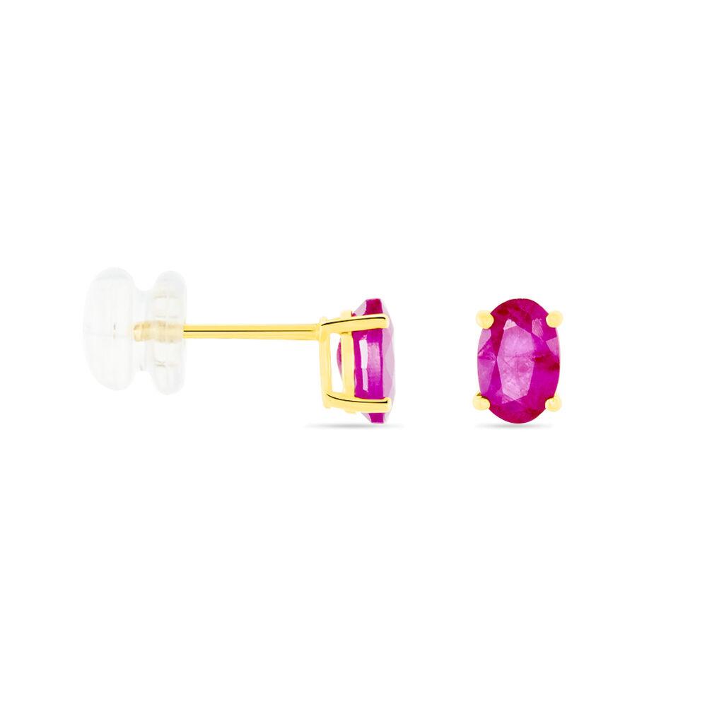 Boucles D'oreilles Puces Ovale Or Jaune Rubis - Clous d'oreilles Femme | Histoire d'Or