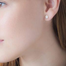 Boucles D'oreilles Puces Siera Or Jaune Perle De Culture - Clous d'oreilles Femme   Histoire d'Or