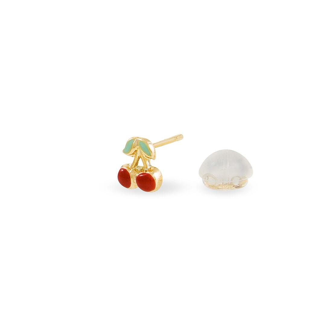 Boucles D'oreilles Puces Helicie Cerise Or Jaune - Clous d'oreilles Enfant | Histoire d'Or