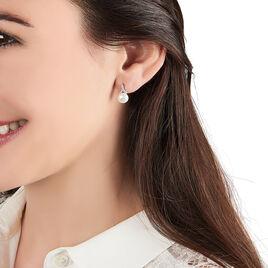 Boucles D'oreilles Pendantes Argent Blanc Perle D'imitation Et Oxyde - Boucles d'oreilles fantaisie Femme | Histoire d'Or