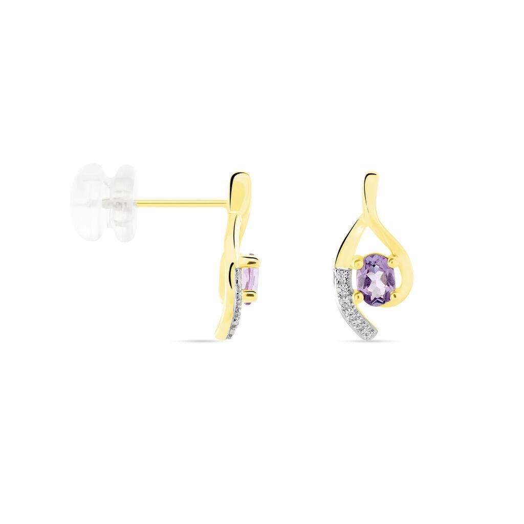 Boucles D'oreilles Sagesse Or Jaune Amethyste Oxyde - Clous d'oreilles Femme   Histoire d'Or