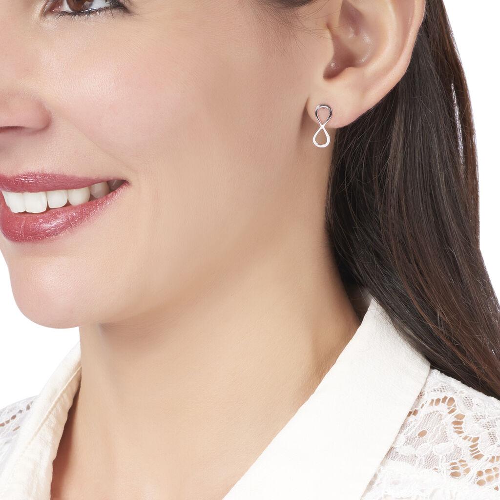 Boucles D'oreilles Pendantes Filomene Argent Blanc - Boucles d'Oreilles Infini Femme   Histoire d'Or