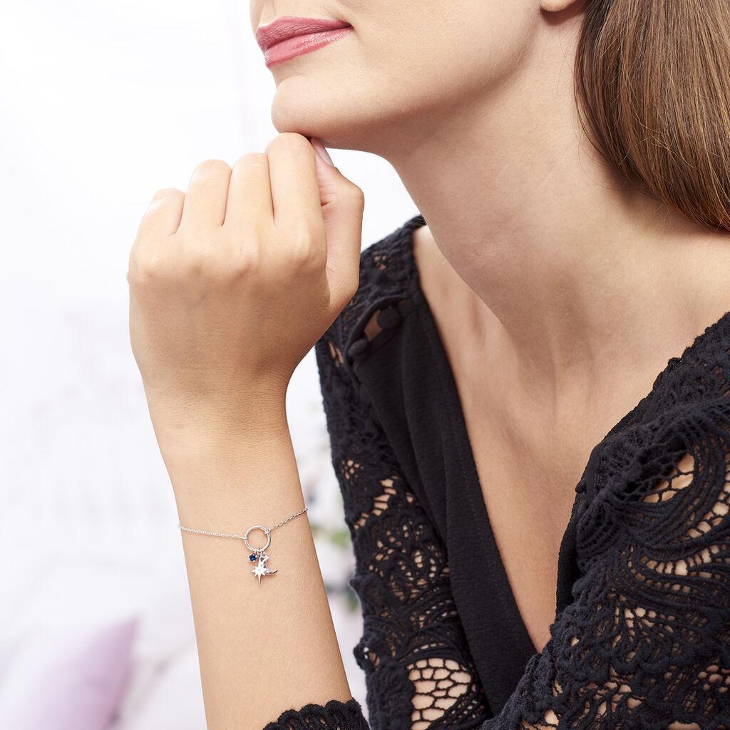 Bracelet Evyna Argent Blanc Oxyde De Zirconium - Bracelets Lune Femme   Histoire d'Or