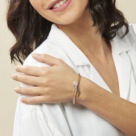 Bracelet Jonc Reyyanae Plaque Or Jaune Oxyde De Zirconium - Bracelets joncs Femme | Histoire d'Or