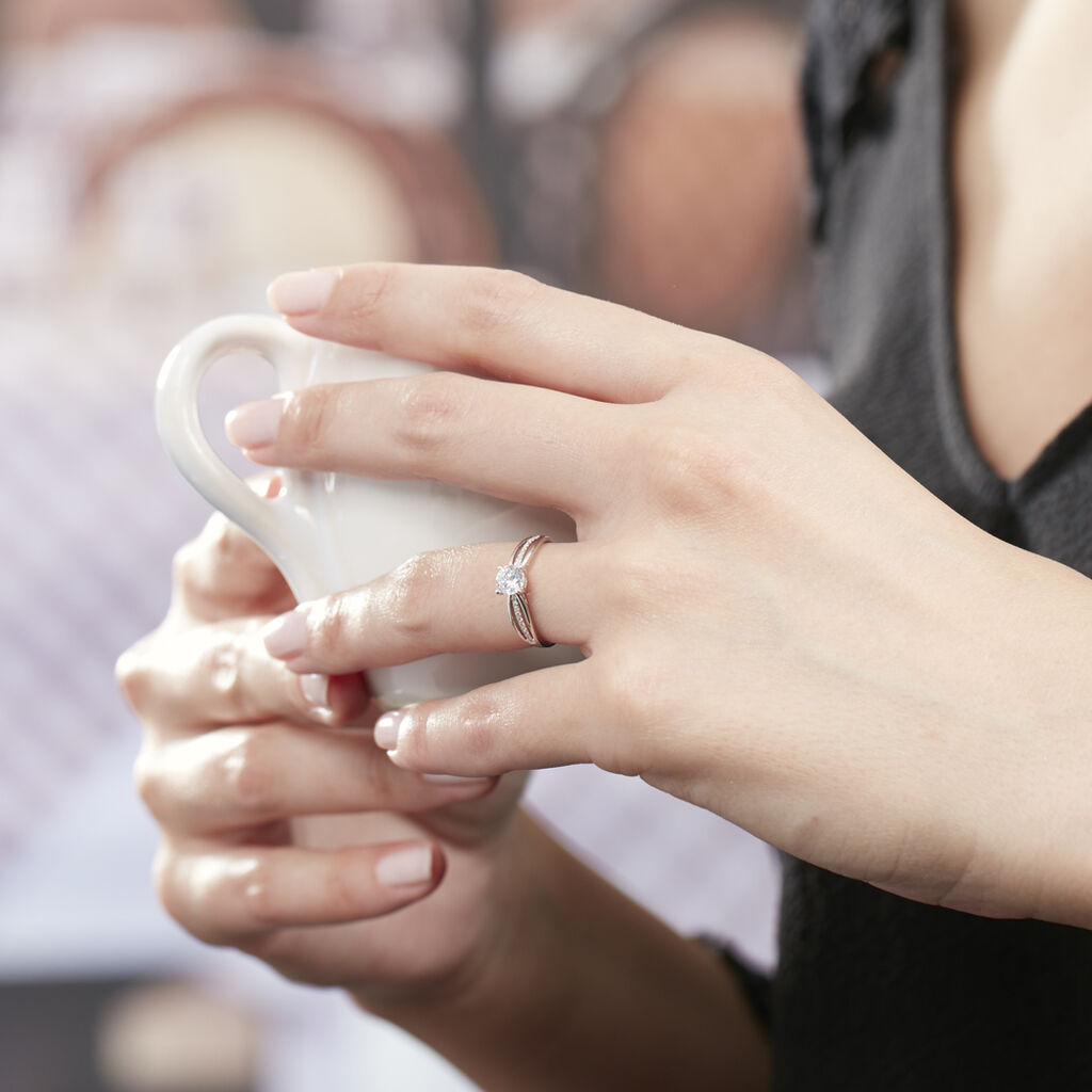 Bague Solitaire Apryl Or Blanc Oxyde De Zirconium - Bagues solitaires Femme | Histoire d'Or