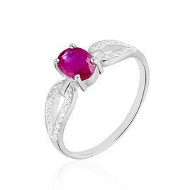 Bague Carlyn Or Blanc Rubis Et Diamant - Bagues avec pierre Femme   Histoire d'Or