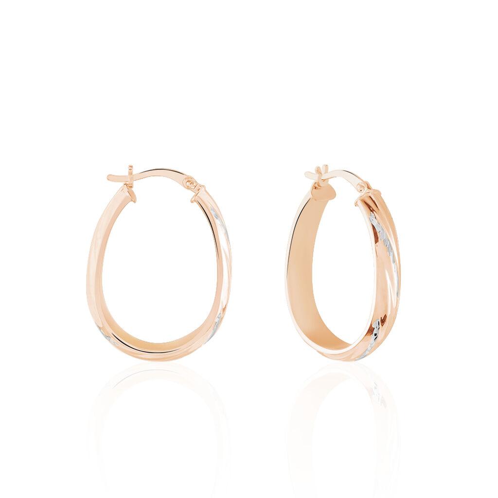 Créoles Tania Gouttes Diamantees Argent Rose - Boucles d'oreilles créoles Femme | Histoire d'Or