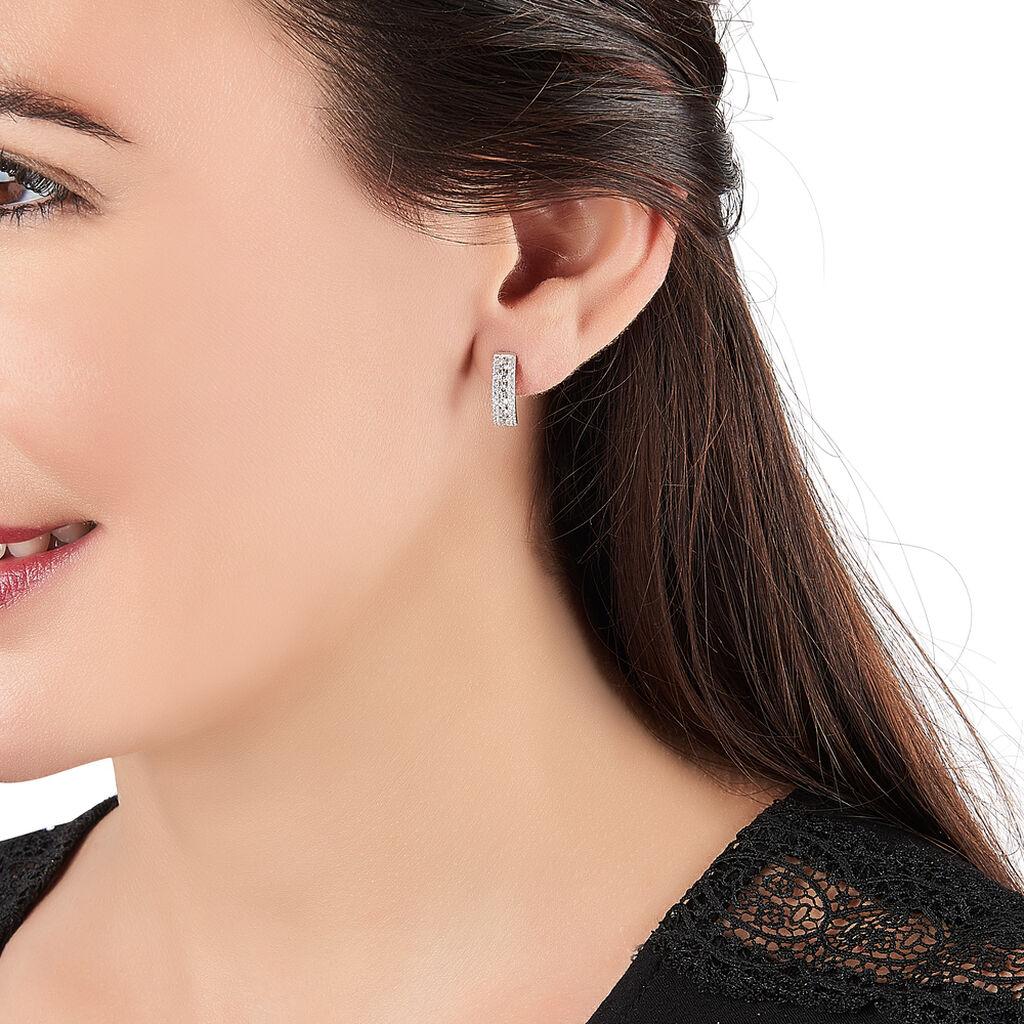 Boucles D'oreilles Pendantes Céane Argent Blanc Oxyde De Zirconium - Boucles d'oreilles créoles Femme | Histoire d'Or