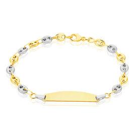 Bracelet Identité Evin Maille Grain De Cafe Or Bicolore - Bracelets Communion Enfant | Histoire d'Or