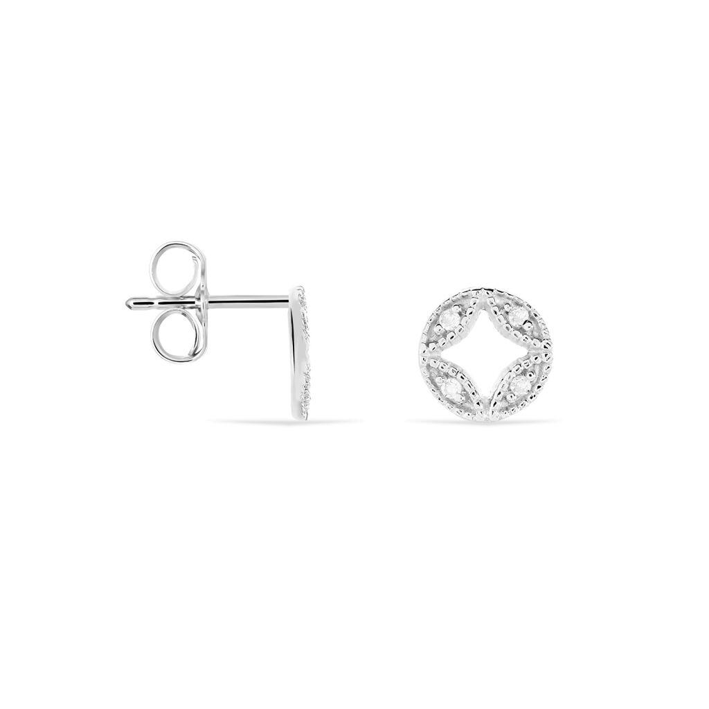 Boucles D'oreilles Puces Luciana Or Blanc Diamant - Boucles d'Oreilles Trèfle Femme | Histoire d'Or