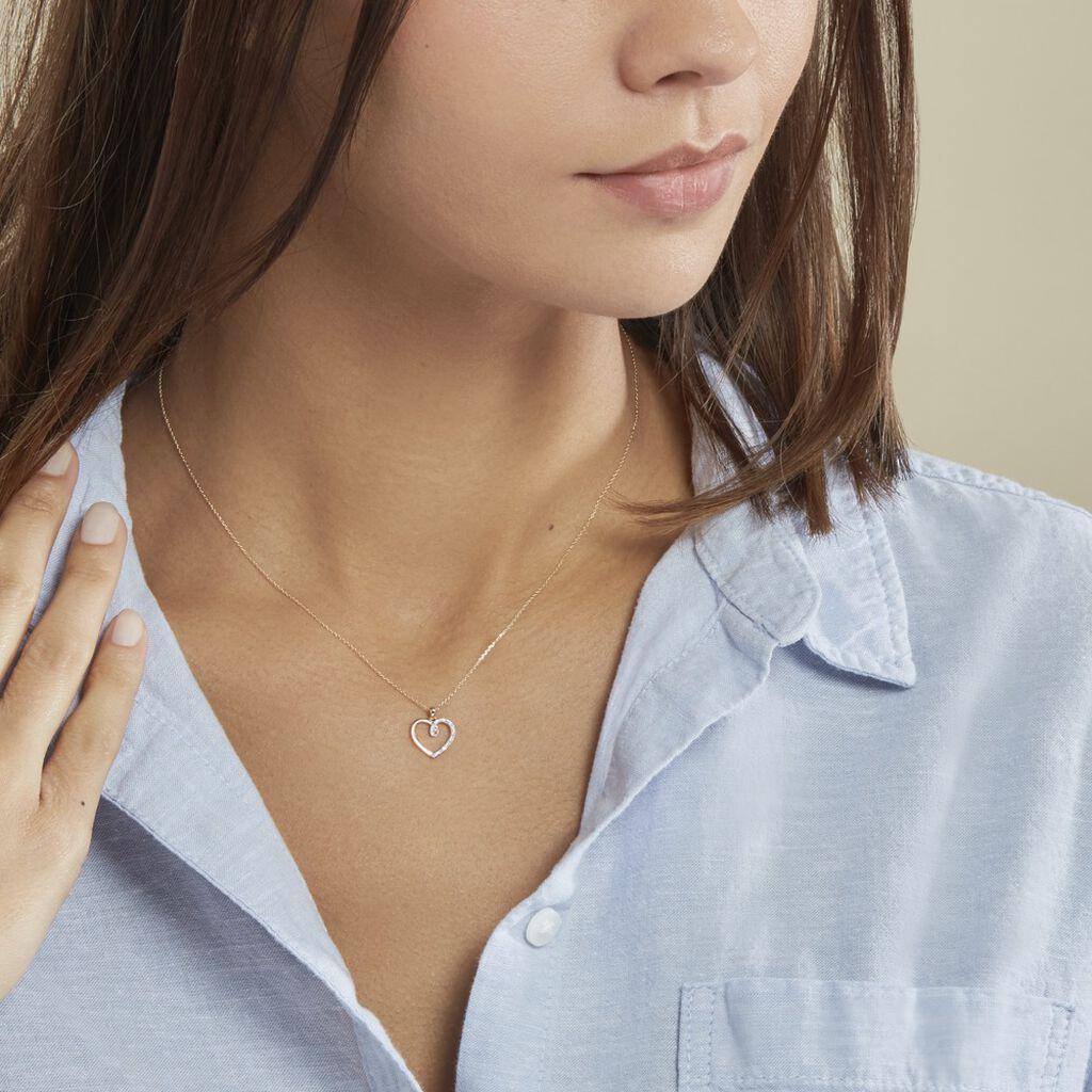 Collier Rhodia Or Jaune Diamant - Colliers Coeur Femme   Histoire d'Or