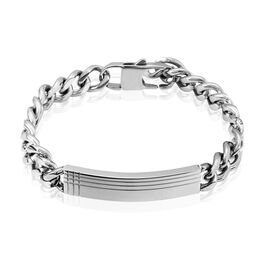 Bracelet Identité Quadrillage Acier Blanc - Bracelets fantaisie Homme   Histoire d'Or