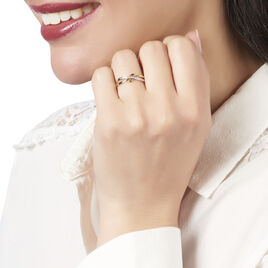 Bague Rokhya Or Tricolore Diamant - Bagues avec pierre Femme   Histoire d'Or