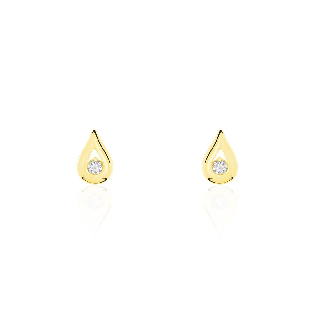 Boucles D'oreilles Puces Purete Or Jaune Diamant - Clous d'oreilles Femme   Histoire d'Or