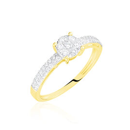 Bague Solitaire Julia Or Jaune Diamant Synthetique - Bagues avec pierre Femme | Histoire d'Or