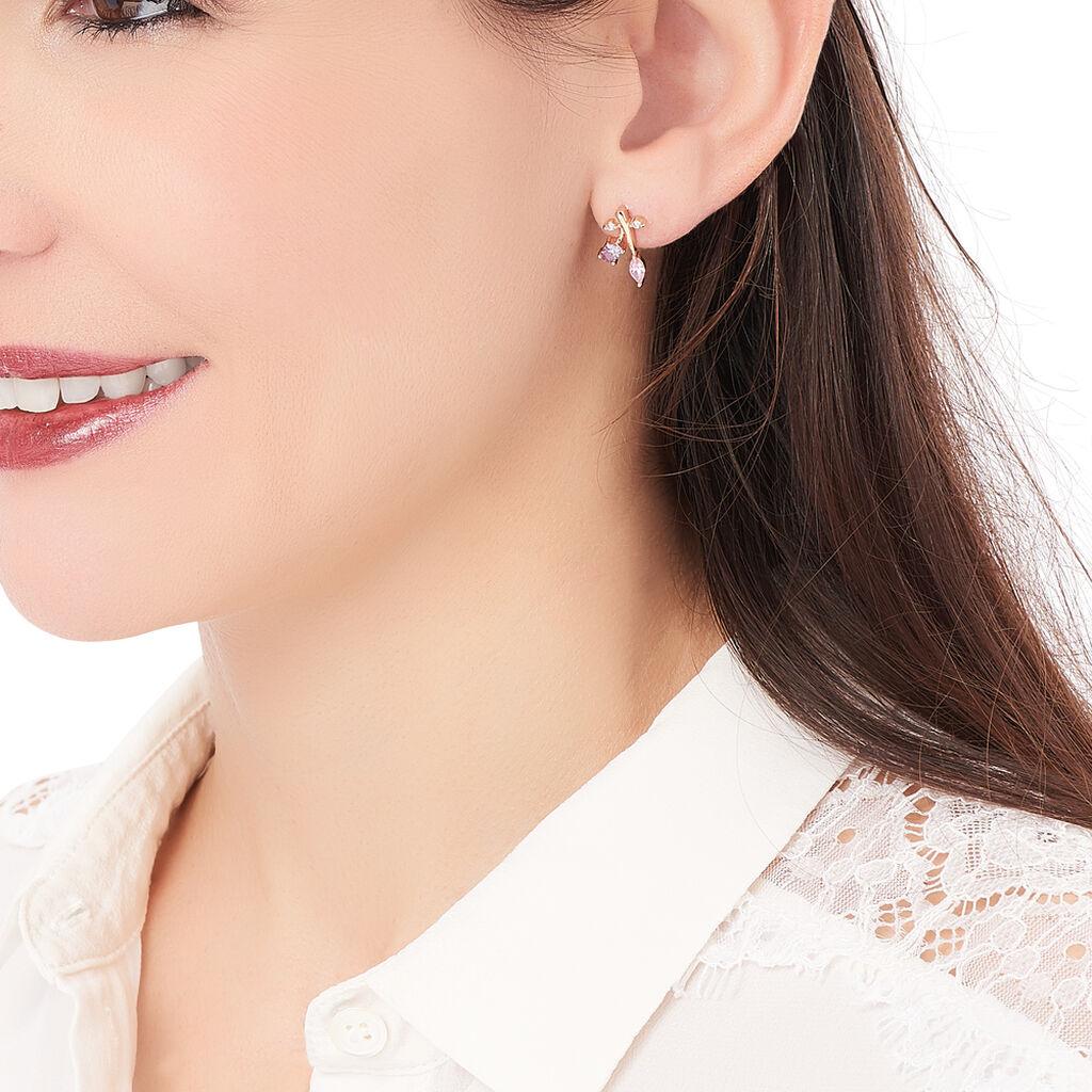 Boucles D'oreilles Pendantes Durdane Plaque Or Pierre Et Olivine - Boucles d'oreilles fantaisie Femme | Histoire d'Or