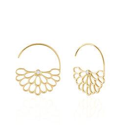 Créoles Anicet Rondes Plaque Or Jaune Oxyde De Zirconium - Boucles d'oreilles créoles Femme | Histoire d'Or