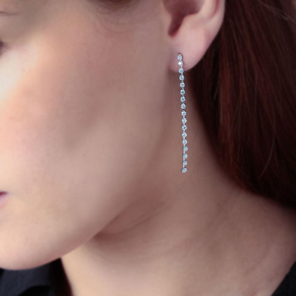 Boucles D'oreilles Pendantes Argent Blanc Oxyde De Zirconium - Boucles d'oreilles fantaisie Femme   Histoire d'Or