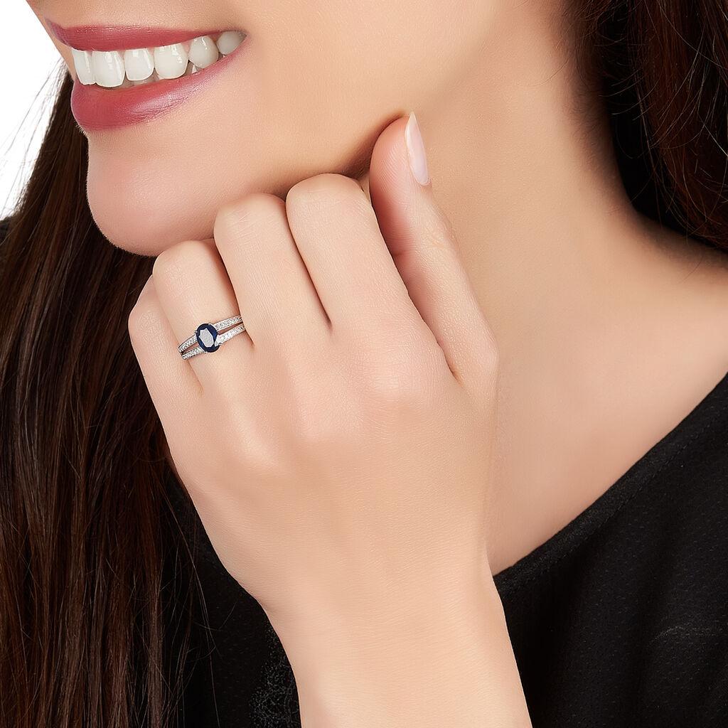 Bague Mauryn Or Blanc Saphir Et Diamant - Bagues avec pierre Femme | Histoire d'Or