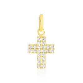 Pendentif Or Jaune Croix Pavee Oxydes - Pendentifs Croix Femme | Histoire d'Or