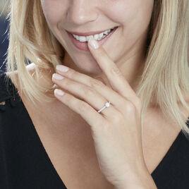 Solitaire Accompagne Or Blanc Laetitia Diamant Synthetique - Bagues avec pierre Femme   Histoire d'Or