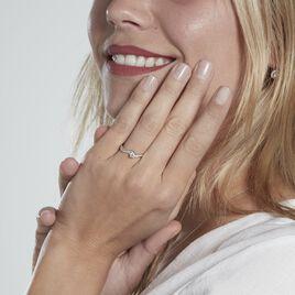 Solitaire Accompagné Laetitianne Or Blanc Diamant Synthétique - Bagues solitaires Femme   Histoire d'Or