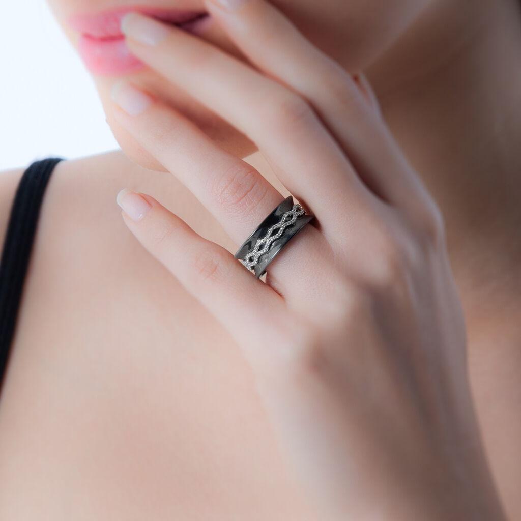 Bague Lyzea Or Blanc Oxyde De Zirconium Et Céramique - Bagues avec pierre Femme   Histoire d'Or