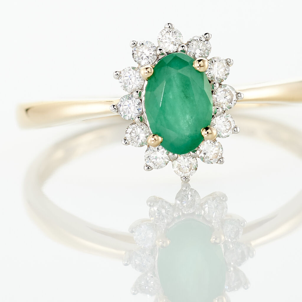 Bague Vladimir Or Jaune Emeraude Diamant - Bagues solitaires Femme | Histoire d'Or