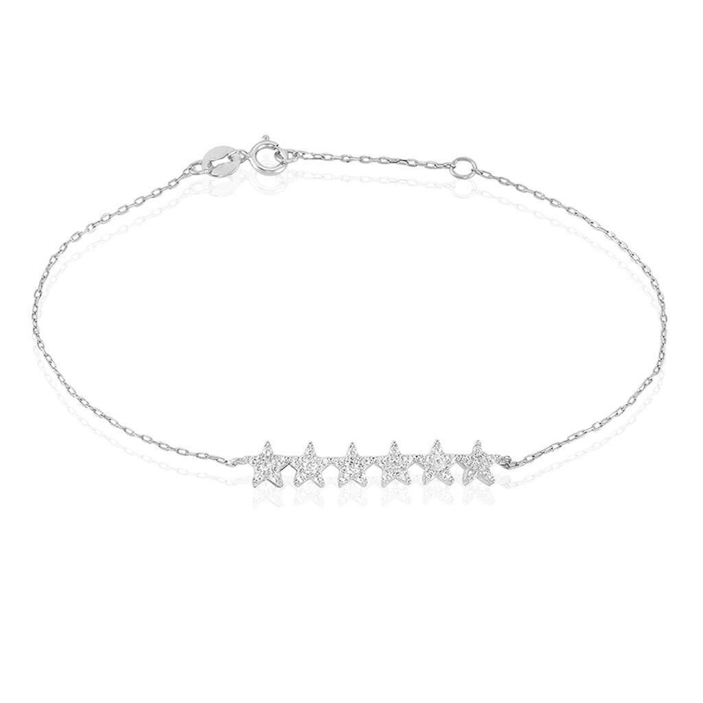 Bracelet Soeli Or Blanc Oxyde De Zirconium - Bijoux Etoile Femme | Histoire d'Or