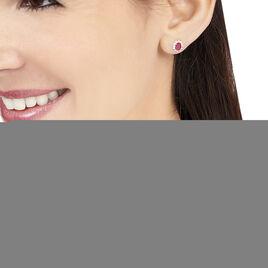 Boucles D'oreilles Puces Vladimir Or Jaune Diamant Et Rubis - Boucles d'Oreilles Plume Femme | Histoire d'Or