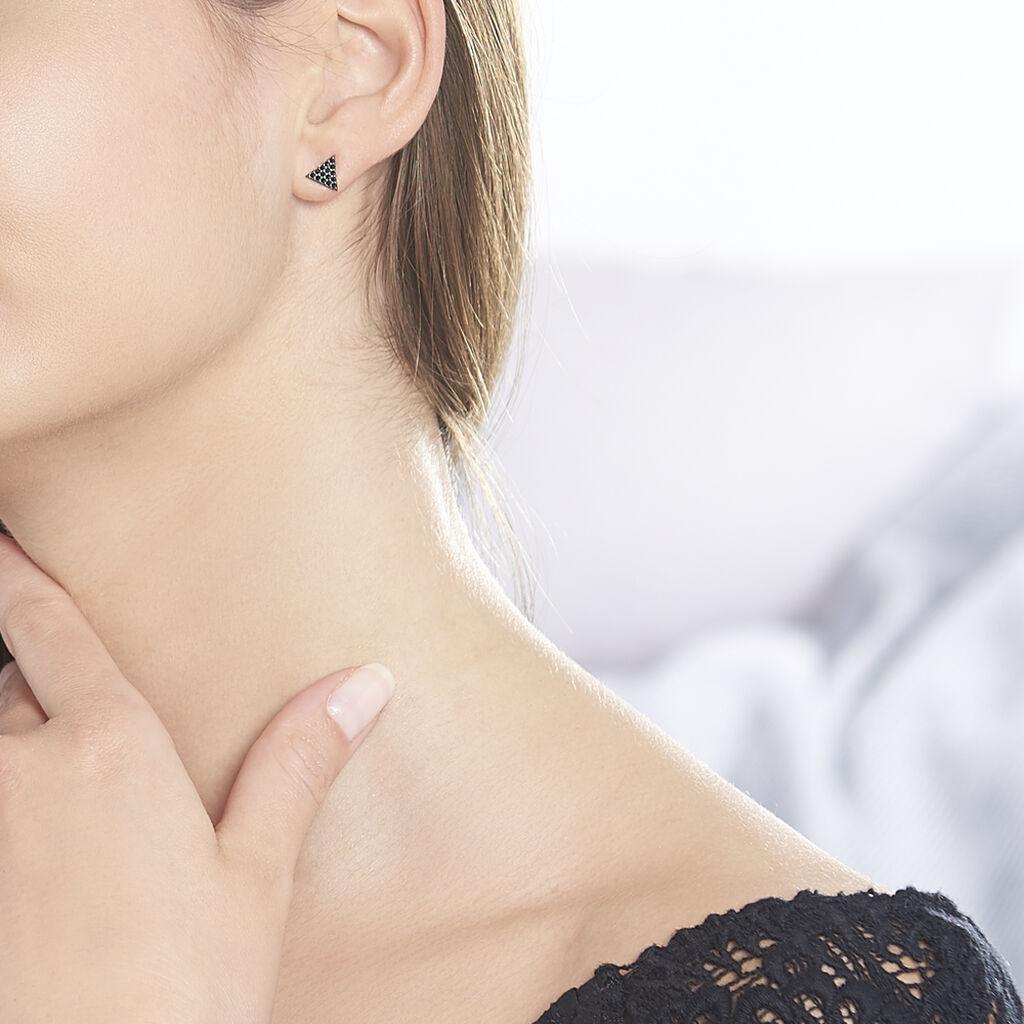 Boucles D'oreilles Puces Amellia Argent Rose Oxyde De Zirconium - Boucles d'oreilles fantaisie Femme   Histoire d'Or