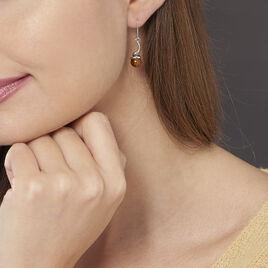 Boucles D'oreilles Pendantes Mariangeae Argent Blanc Ambre - Boucles d'oreilles fantaisie Femme | Histoire d'Or