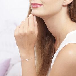 Bracelet Argent Rhodie Philine Demi Lune Oxyde - Bracelets Lune Femme   Histoire d'Or