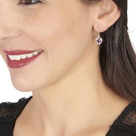 Boucles D'oreilles Pendantes Rosaline Or Jaune Amethyste Et Oxyde - Boucles d'Oreilles Coeur Femme | Histoire d'Or