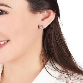 Boucles D'oreilles Puces Mei Plaque Or Jaune Oxyde De Zirconium - Boucles d'Oreilles Coeur Femme | Histoire d'Or