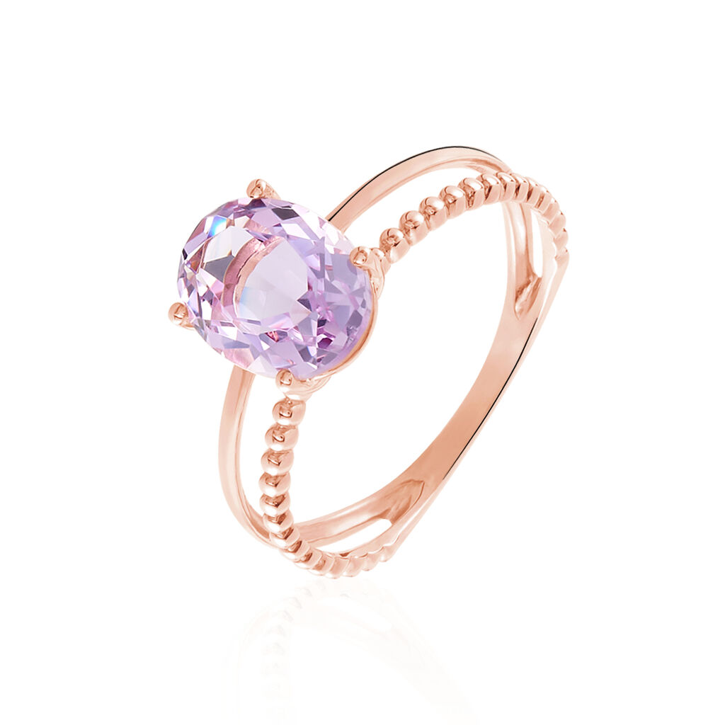 Bague Posy Or Rose Amethyste - Bagues solitaires Femme | Histoire d'Or