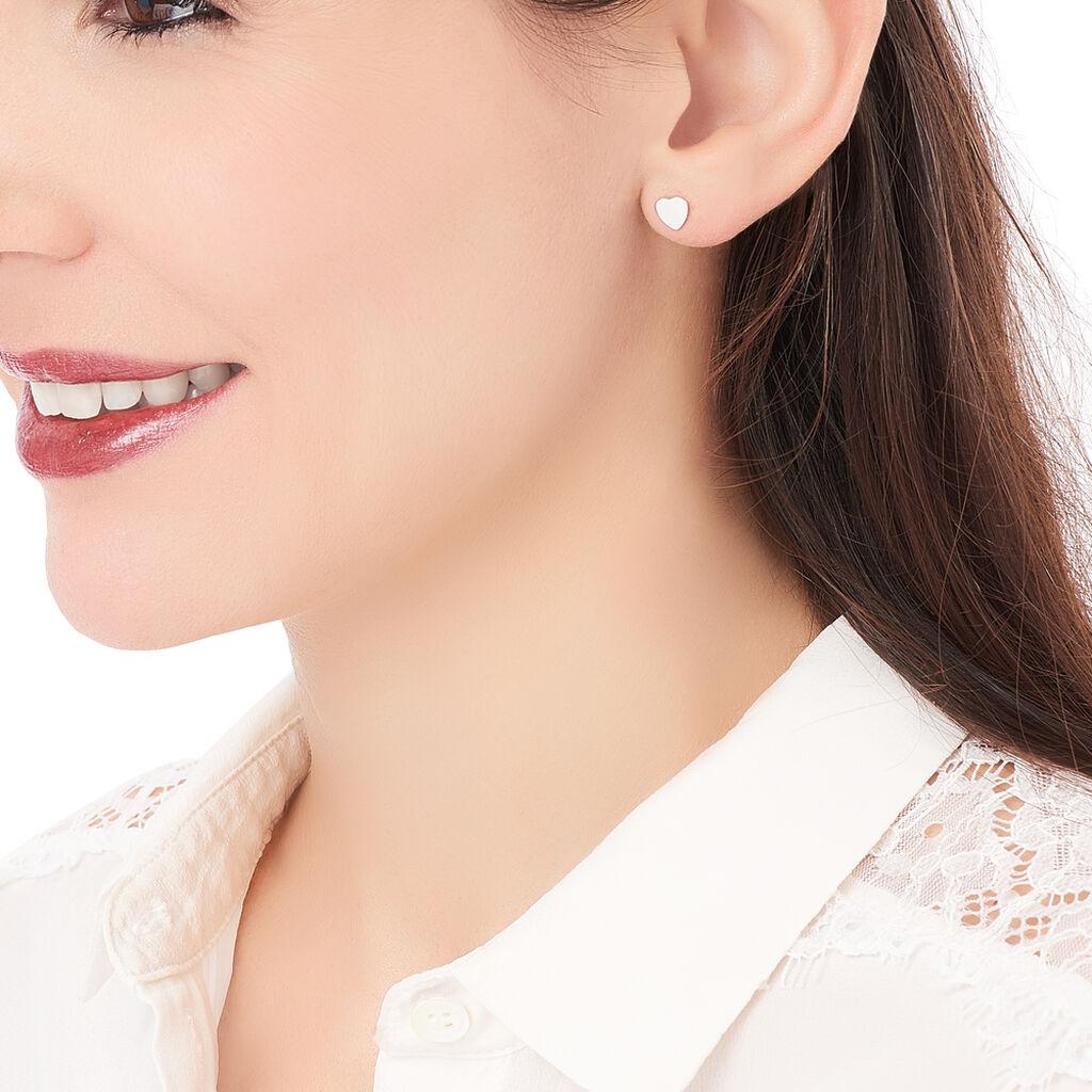 Boucles D'oreilles Puces Apoline Argent Blanc - Boucles d'Oreilles Coeur Femme | Histoire d'Or