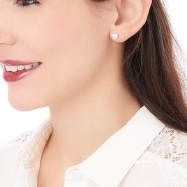 Boucles D'oreilles Puces Apoline Argent Blanc - Boucles d'Oreilles Coeur Femme   Histoire d'Or