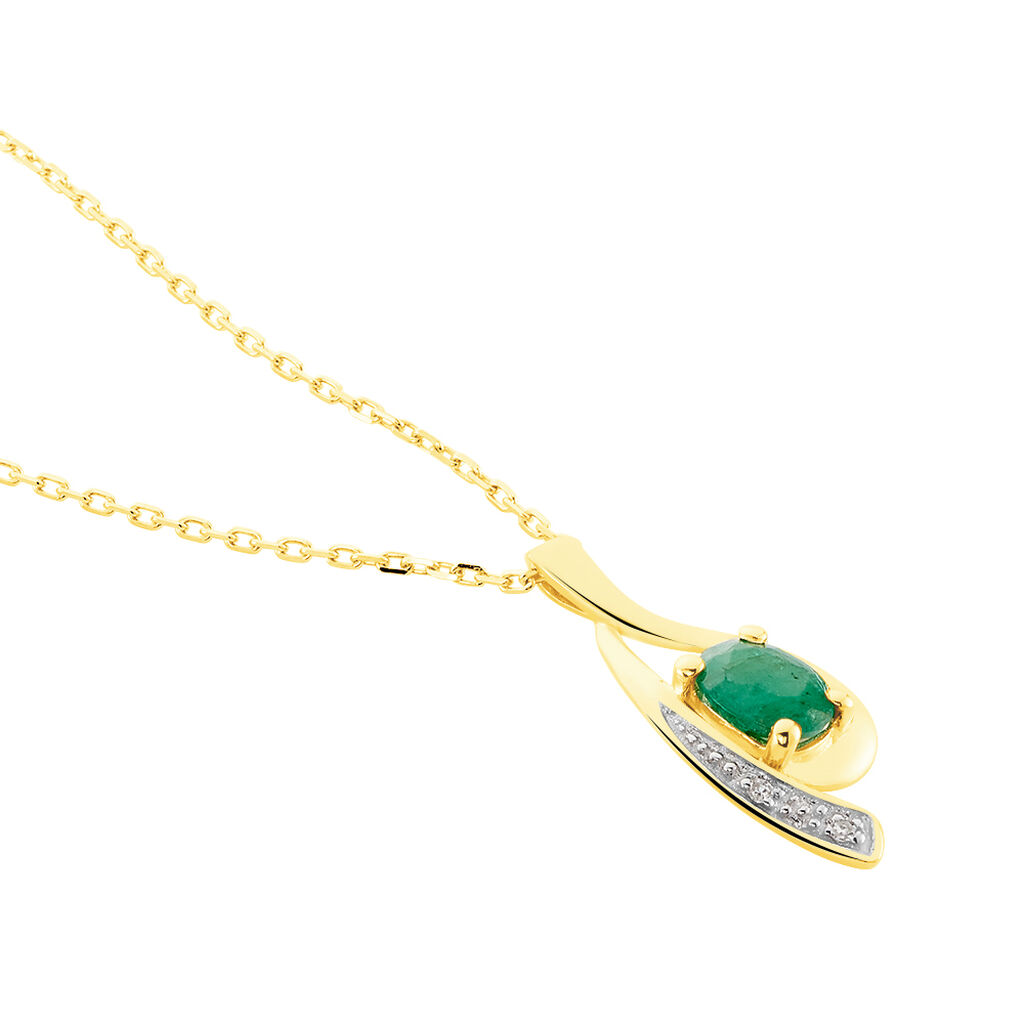 Collier Sagesse Or Jaune Emeraude Et Diamant