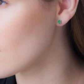 Boucles D'oreilles Puces Ovale Or Blanc Emeraude - Clous d'oreilles Femme | Histoire d'Or