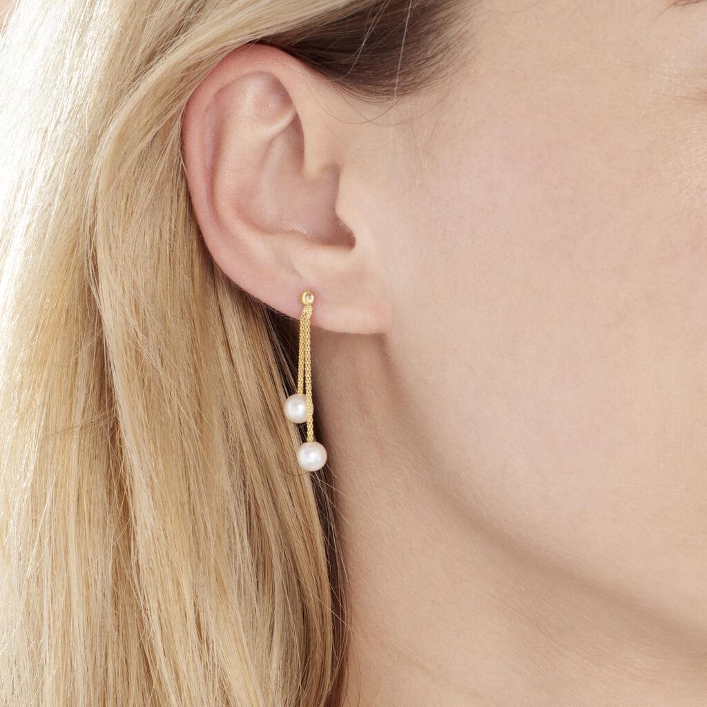 Boucles D'oreilles Pendantes Friea Or Jaune Perle De Culture - Boucles d'oreilles pendantes Femme   Histoire d'Or